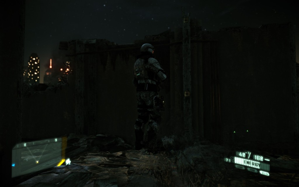 Soldier standing looking at a wall with his back open to attack.