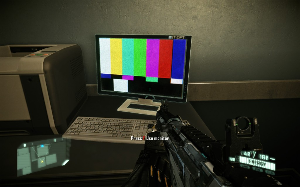 A computer showing an old TV rainbow test screen.