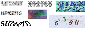 Various captchas from wikimedia.